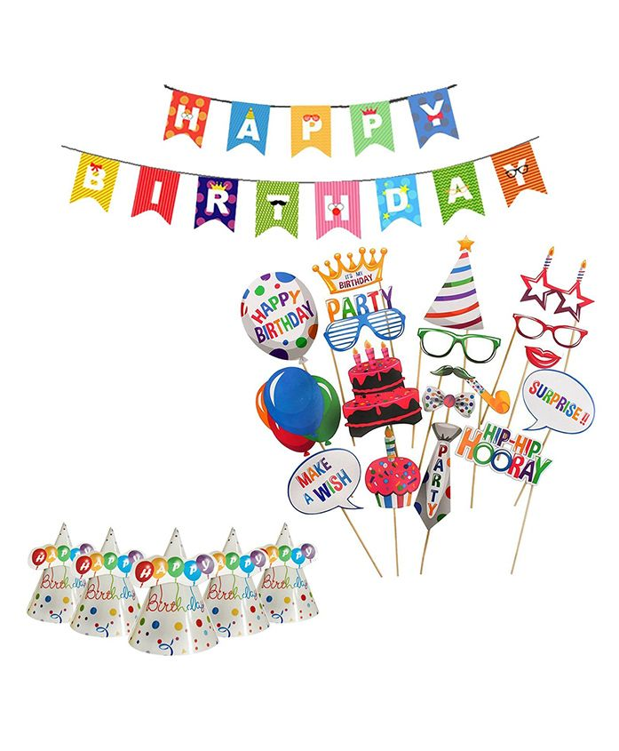 Party Propz Birthday Celebration Combo Kit - Multicolour