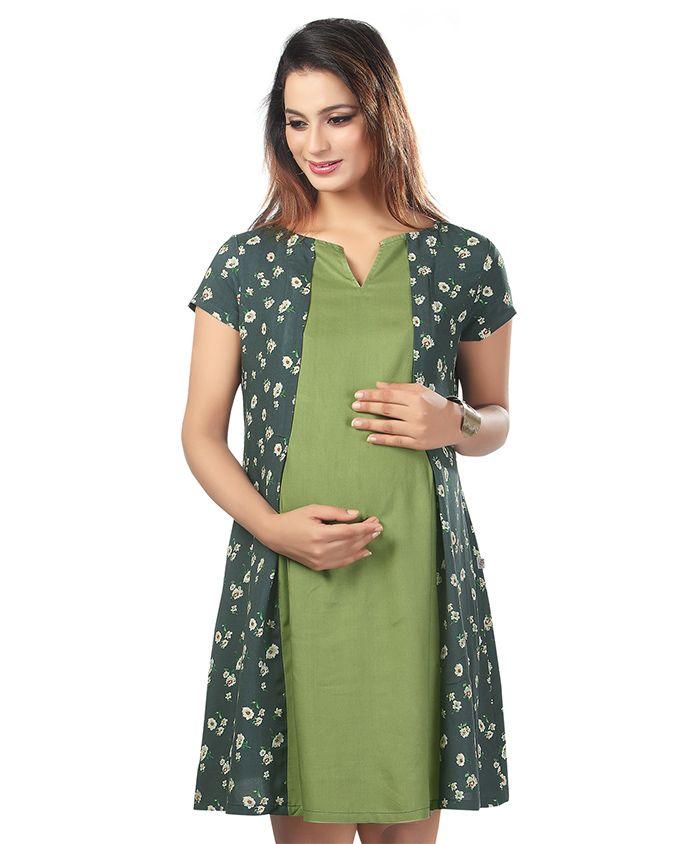 Kriti Short Sleeves Maternity Dress Floral Print - Green Grey