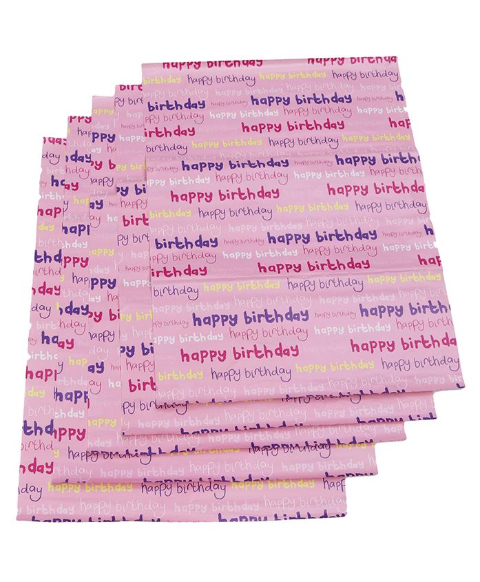 B Vishal Happy Birthday Print Gift Wrapper Pack Of 5 - Pink Multicolor