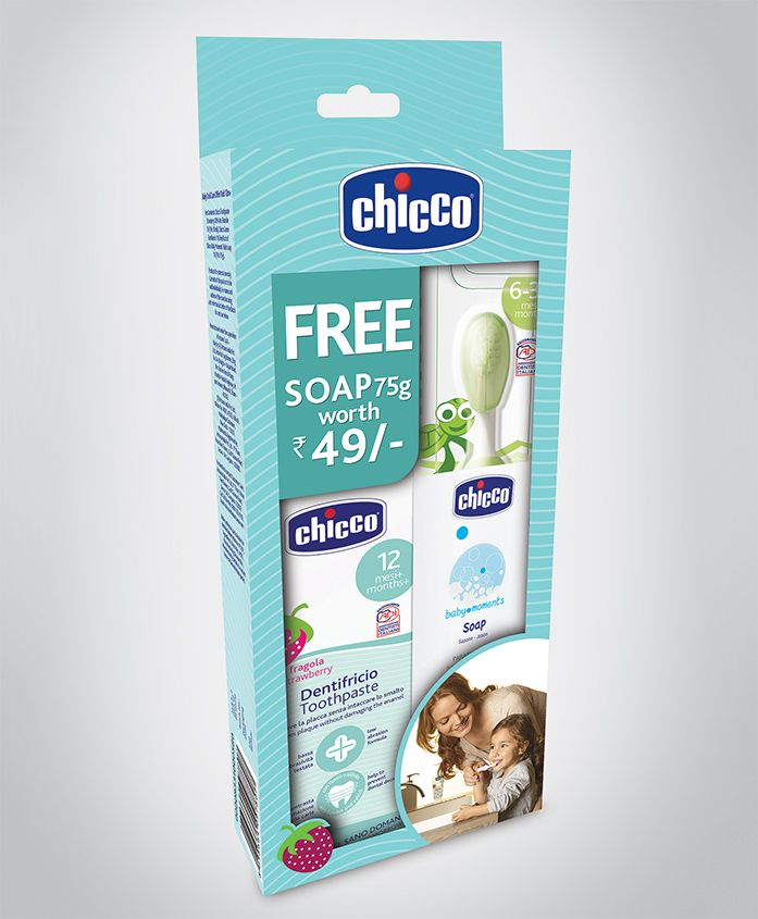 Chicco Oral Care Combo Pack Strawberry Flavour Toothpaste & Toothbrush - Green
