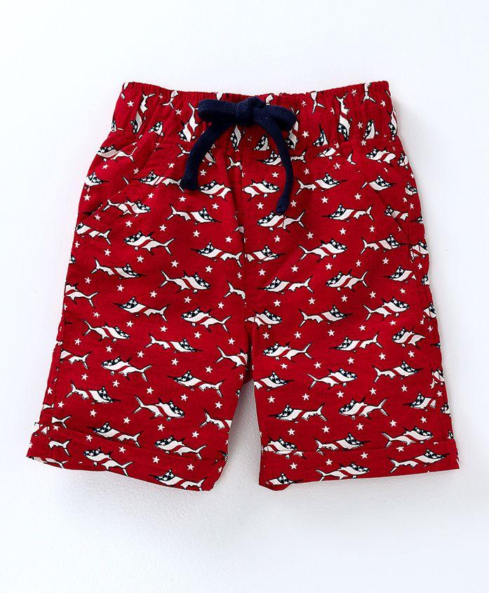 Kiddopanti Pull Up Shorts Shark Print - Red