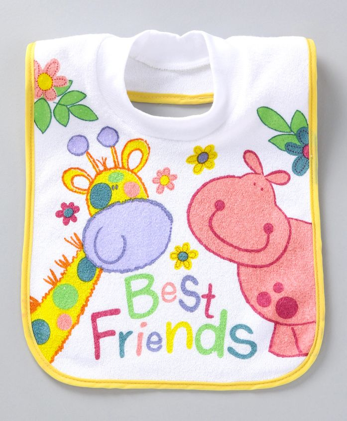 Mee Mee Bib Best Friends Print - White
