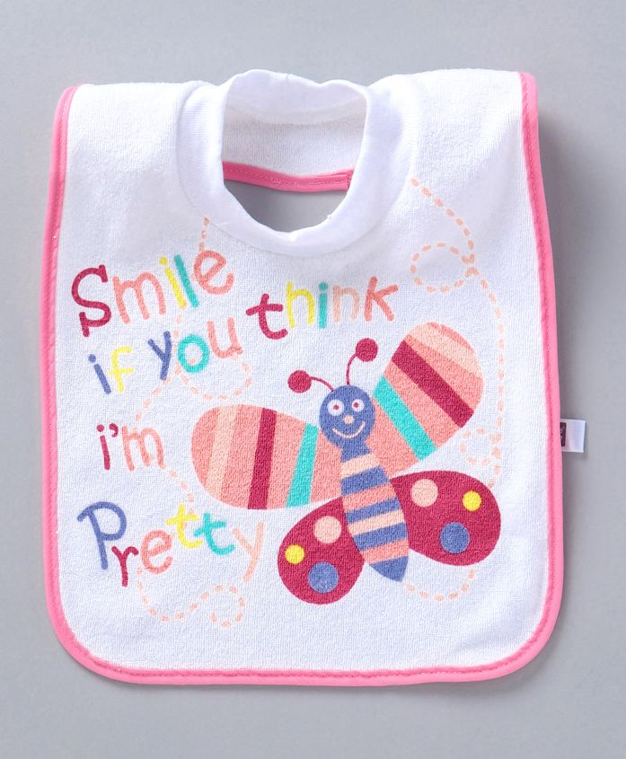 Mee Mee Bib Teddy Smile Print - White