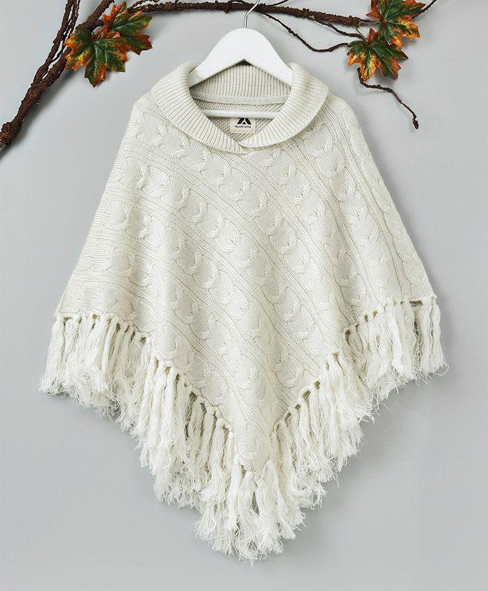 Yellow Apple Winter Party Wear Poncho - White