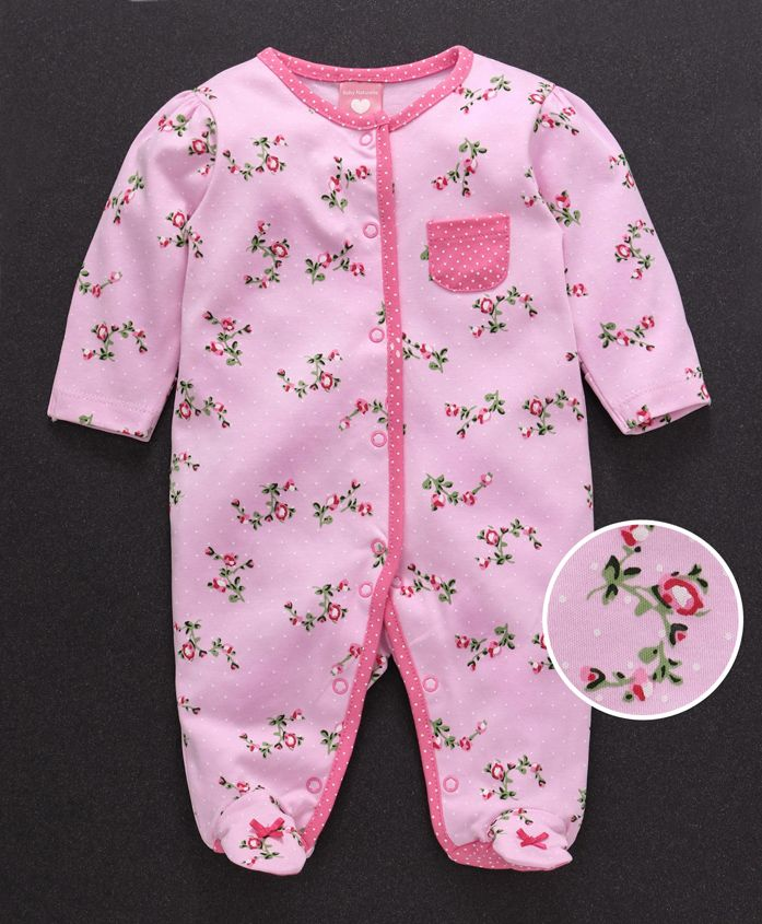 Baby Naturelle & Me Full Sleeves Footed Sleep Suit Floral Print - Pink