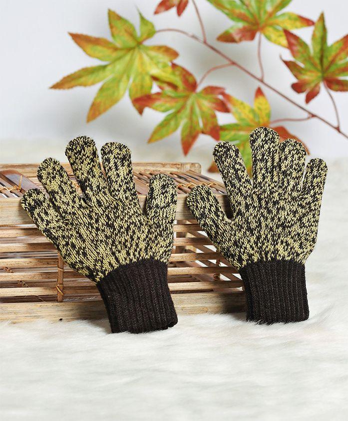 Model Woollen Textured Hand Gloves - Black