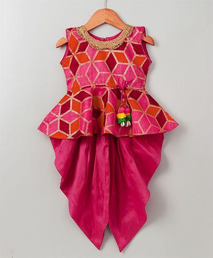 Bownbee Foil Print Peplum Top & Dhoti Set - Pink