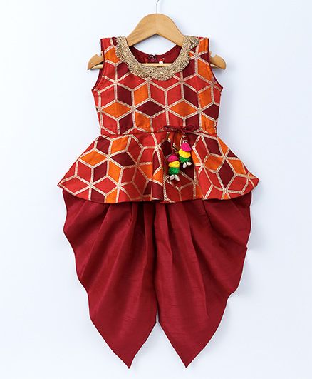 Bownbee Foil Print Peplum Top & Dhoti Set - Red