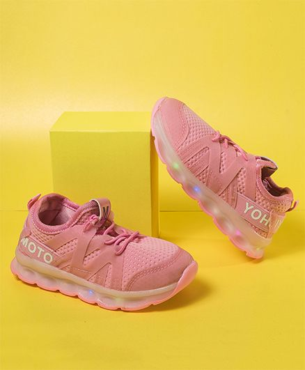 Little Maira Sports Shoes With LED Lights - Pink