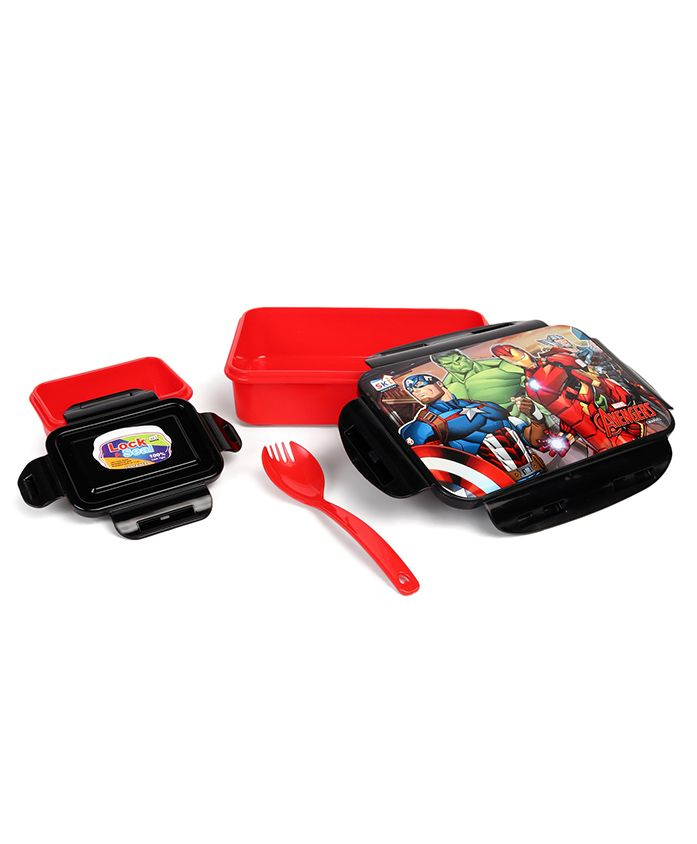 Marvel Avengers Lunch Box With Clip Lock - Black Red