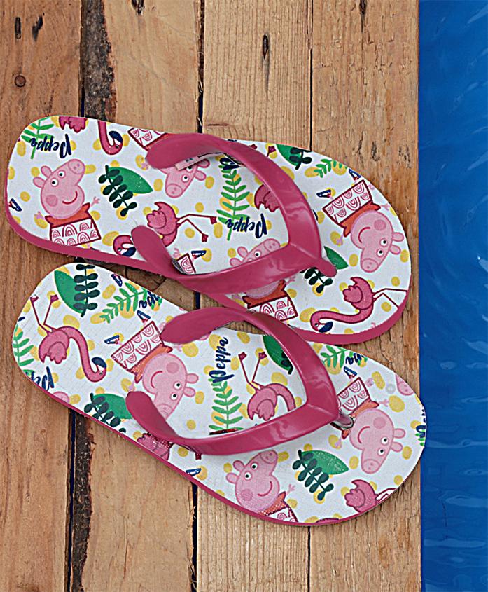 Dchica Peppa Pig Flamingo Print Flip Flops - White