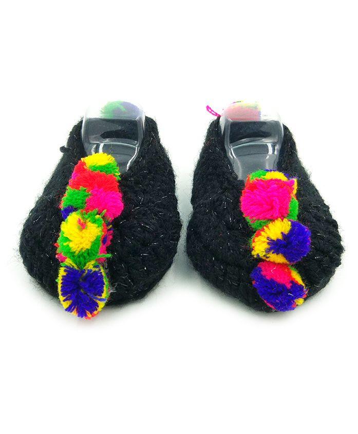 Magic Needles Handmade Crochet Turkish Yarn Glitter Mojaris Booties With Pompoms - Black