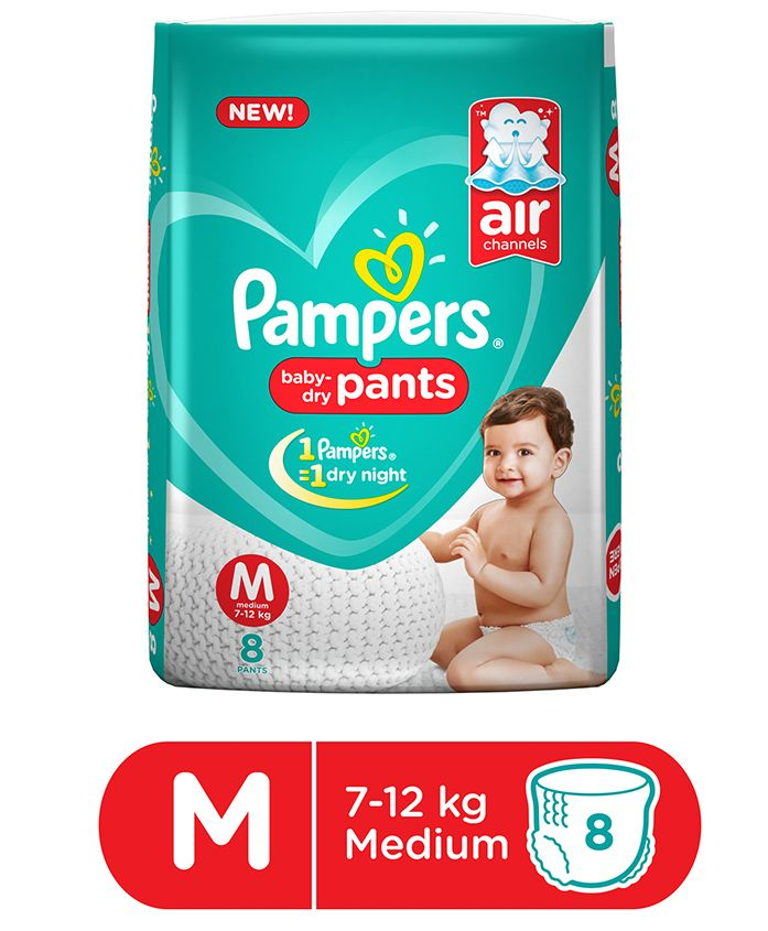 Pampers Pant Style Diapers Medium Size - 8 Pieces