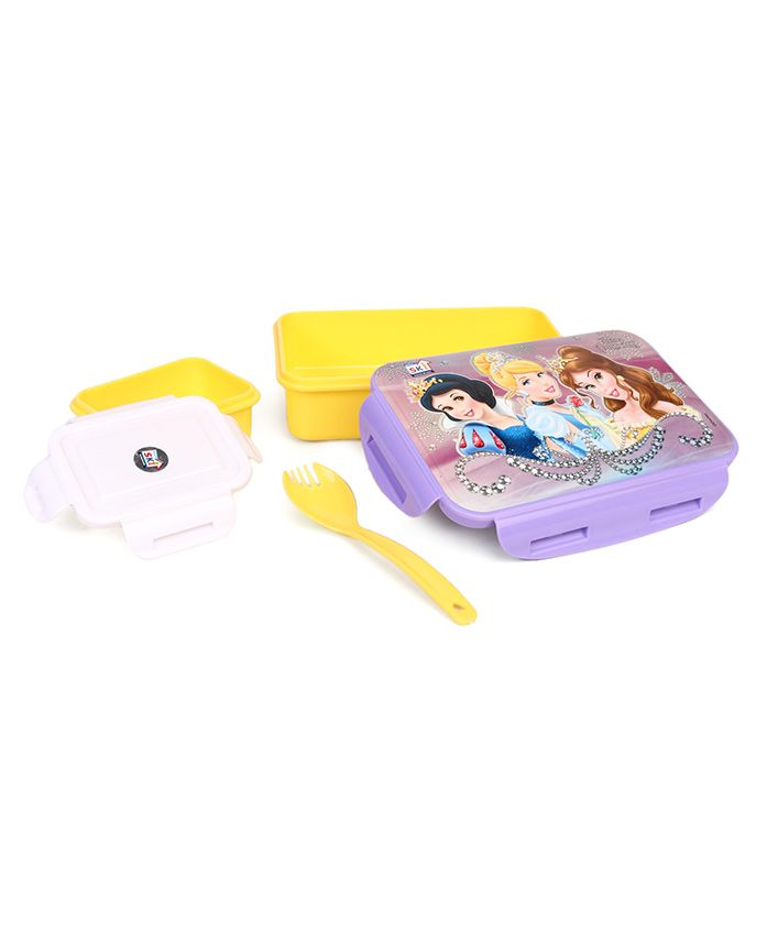 Disney Pink Purple Disney Princess Lunch Box With Clip Lock - Yellow Purple