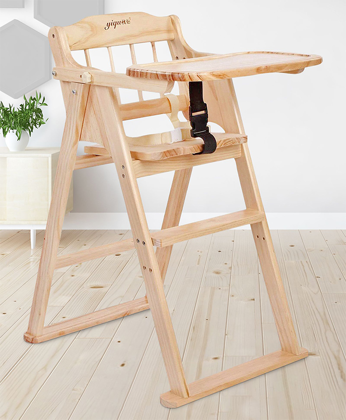 Wooden High Chair - Brown