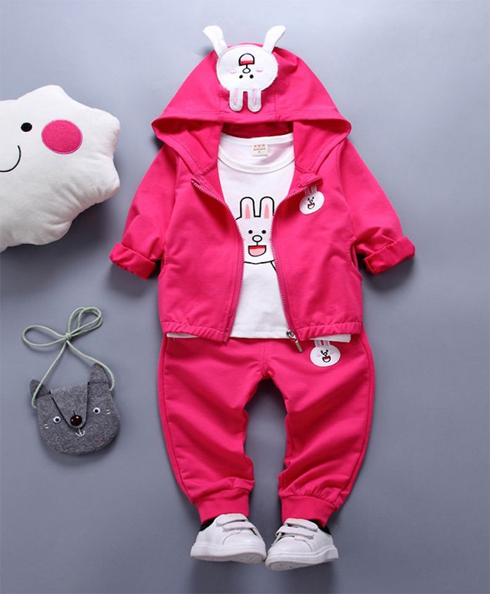 Pre Order - Awabox Rabbit Theme Top & Bottom Set With Jacket - Hot Pink