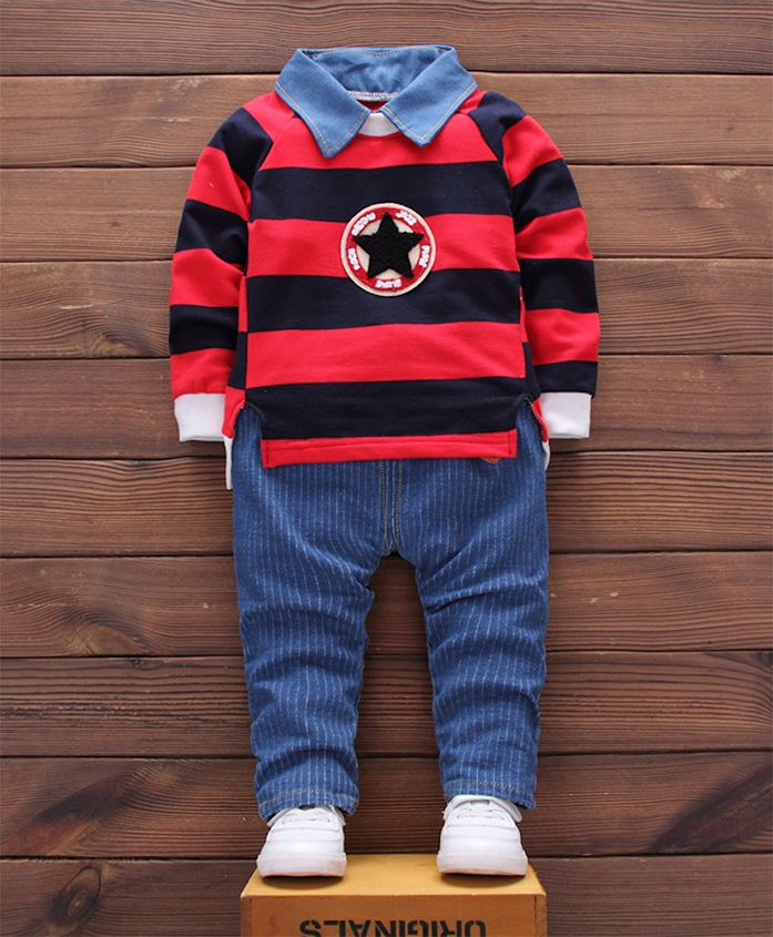 Pre Order - Awabox Striped Tee With Bottom Set - Red & Blue
