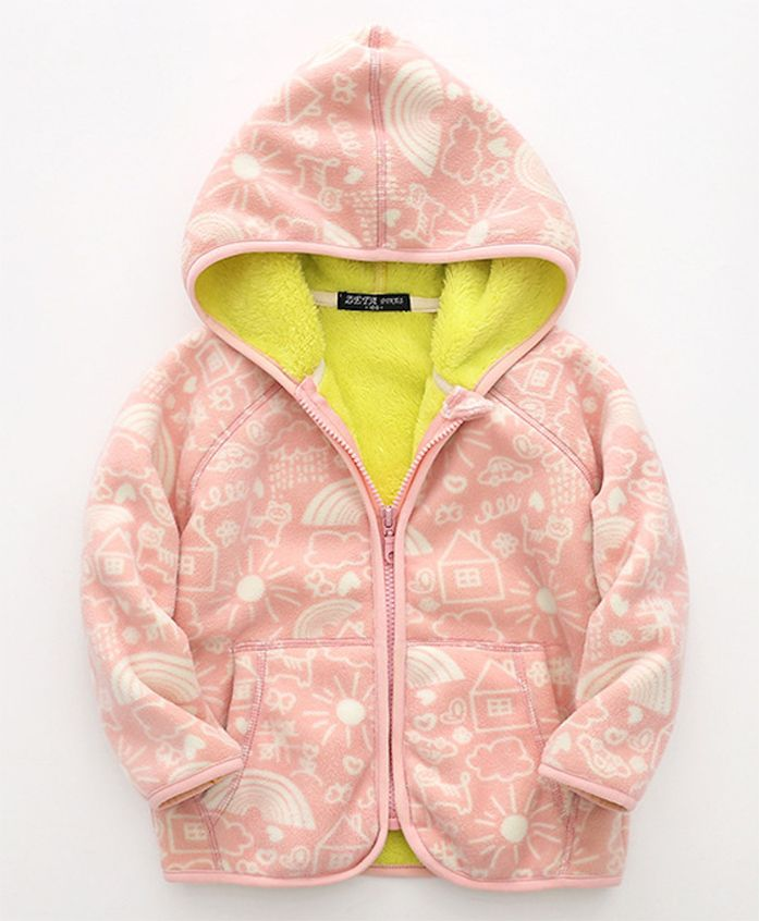 Pre Order - Awabox Nature Print Hoodie With Front Pockets - Pink