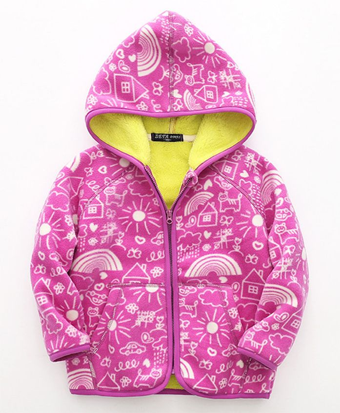 Pre Order - Awabox Nature Print Hoodie With Front Pockets - Dark Pink