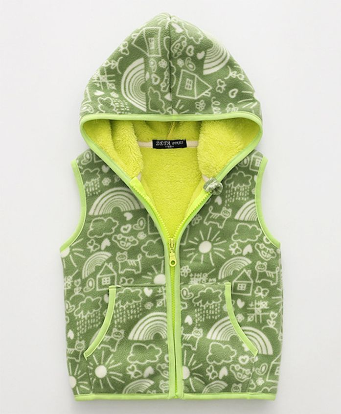 Pre Order - Awabox Sleeveless Hooded Jacket Multidesign - Green
