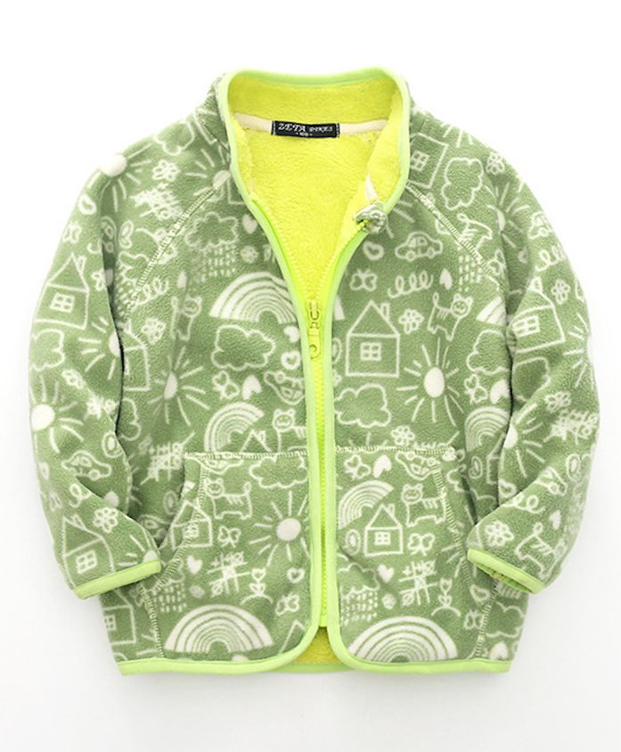 Pre Order - Awabox Full Sleeved Nature Print Jacket - Green