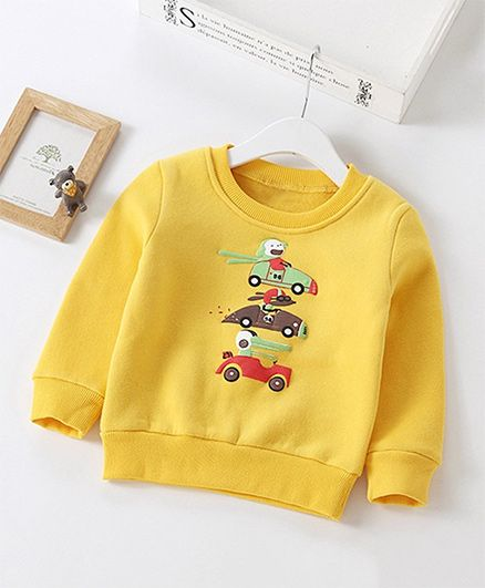 Pre Order - Awabox Cars Printed Sweatshirt - Yellow
