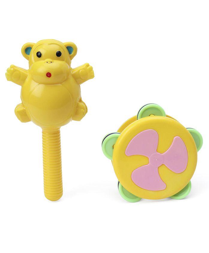 Ratnas Chime Rattle Set Monkey - Yellow & Green