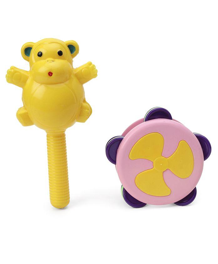 Ratnas Chime Rattle Set Monkey - Yellow & Purple