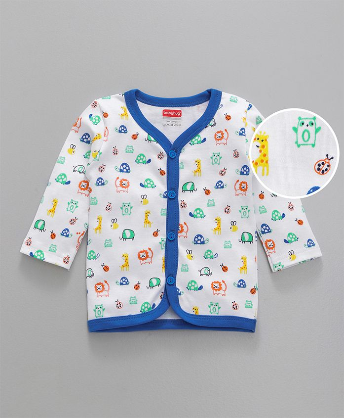 Babyhug Full Sleeves Cotton Vest Animal Print - Blue White