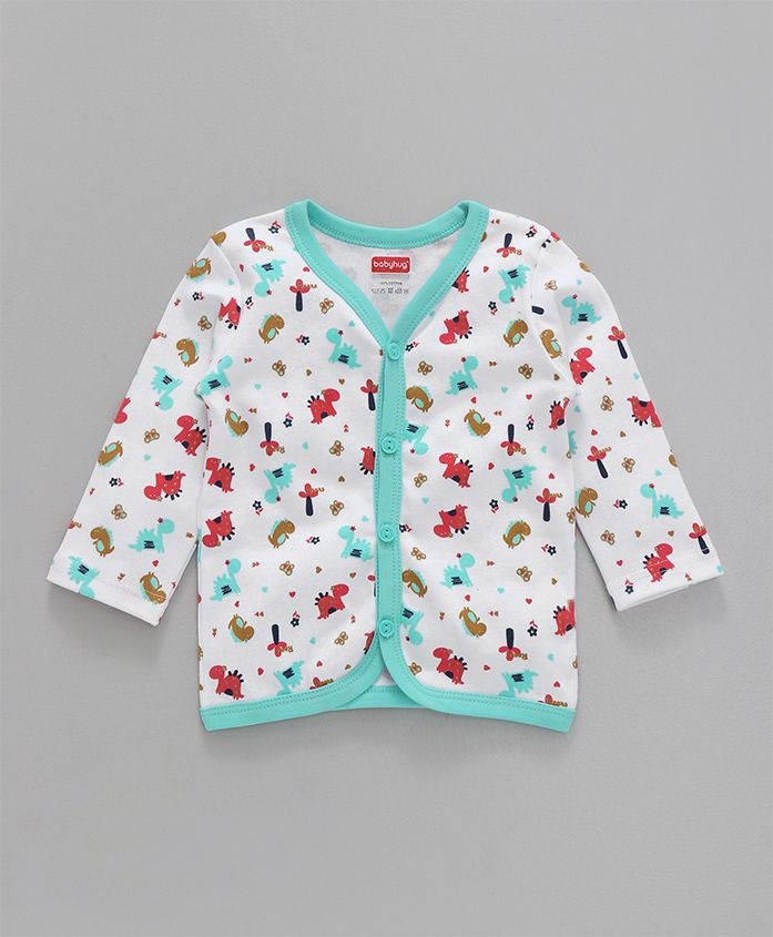 Babyhug Full Sleeves Cotton Vest Dino Print - Sea Green White