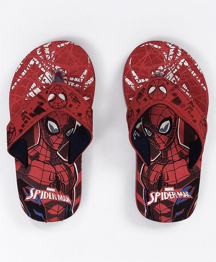 Marvel Spider Man Flip Flops With Back Straps - Red