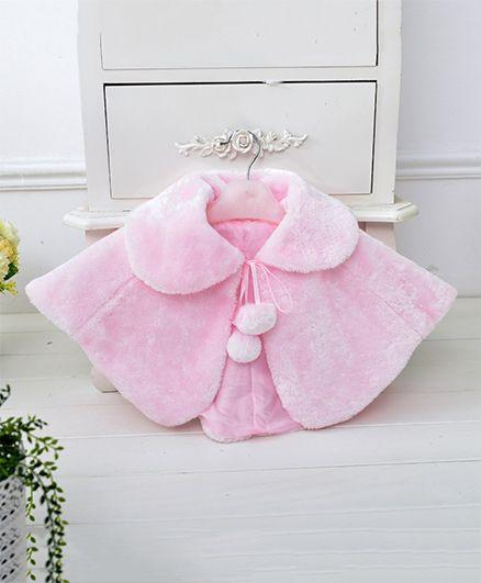 Pre Order - Awabox Furr Cloak With Pom Poms - Pink