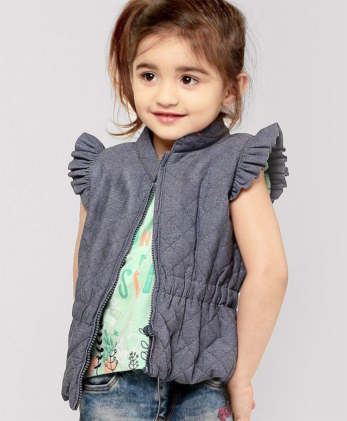 Fox Baby Flutter Sleeves Jacket - Light Blue