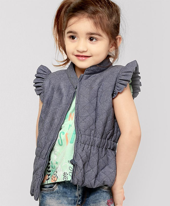 Fox Baby Flutter Sleeves Jacket - Light Blue