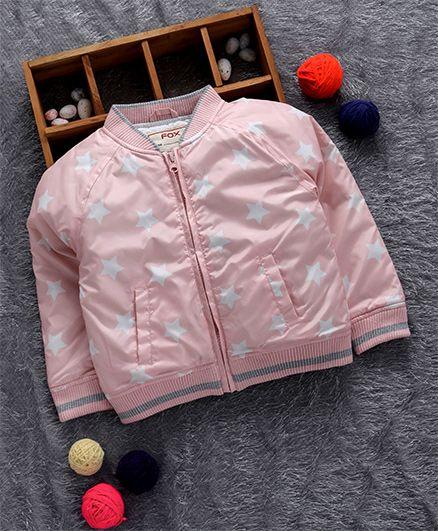 Fox Baby Full Sleeves Jacket Polka Star Print - Light Pink