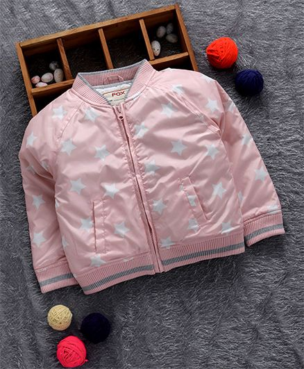 Fox Baby Full Sleeves Jacket Polka Star Print - Light Pink