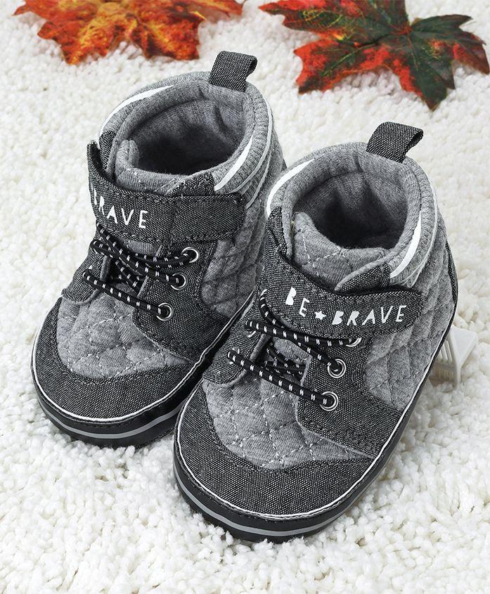 Fox Baby Booties Be Brave Design - Grey