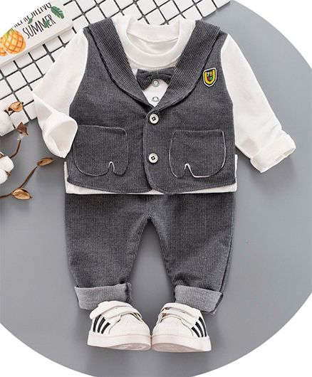 Pre Order - Awabox Tee & Bottom Set With Attached Waistcoat - Grey