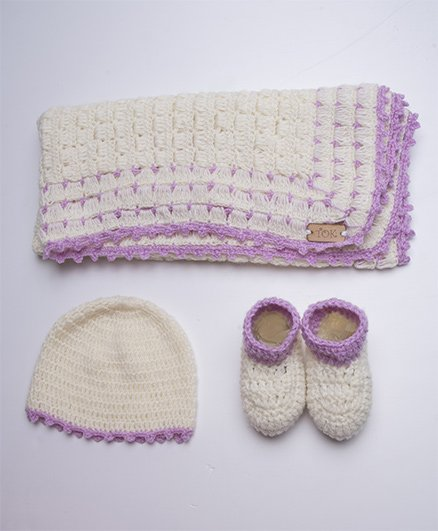 The Original Knit Booties Set With Cap & Blanket - Off White & Purple