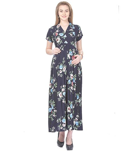 MomToBe Short Sleeves Maternity Dress Floral Print - Blue