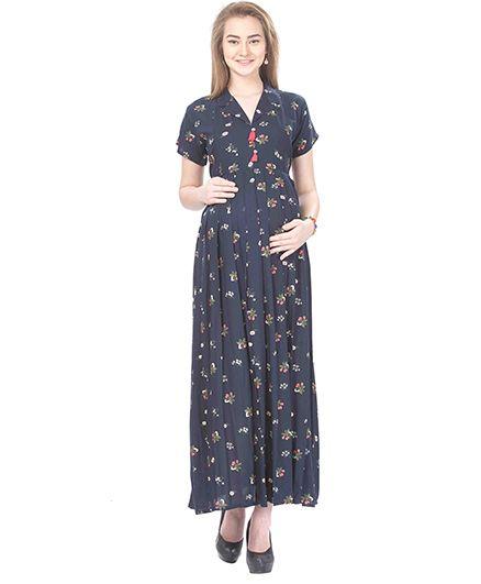 MomToBe Rayon Short Sleeves Maternity Dress Floral Print - Blue