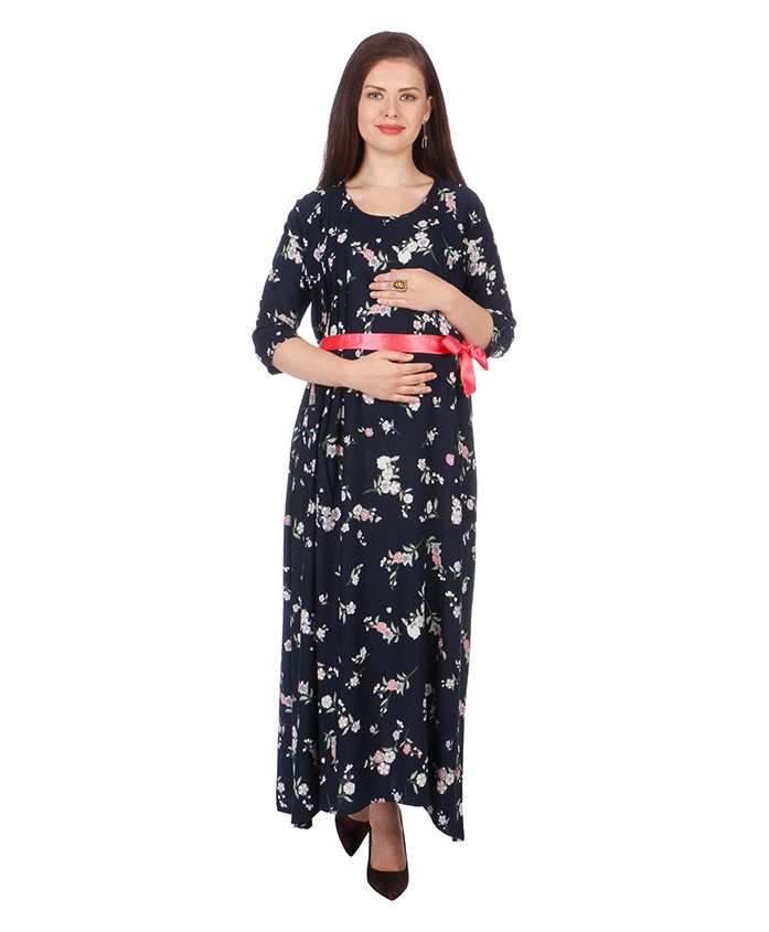 MomToBe Three Fourth Sleeves Maternity Dress  - Prussian Blue & Pink