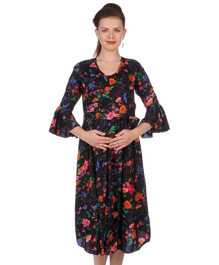 MomToBe Three Fourth Sleeves Maternity Dress Allover Print - Black