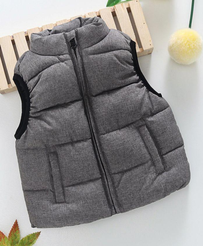 Fox Baby Sleeveless Jacket With Pockets - Grey