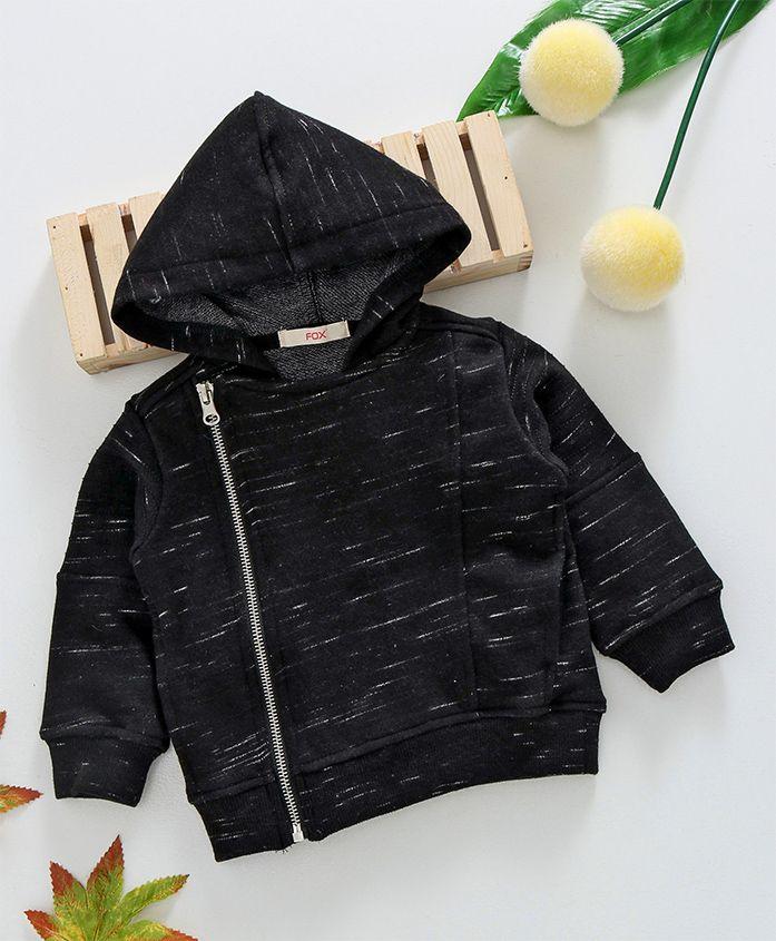 Fox Baby Hooded Sweat Jacket - Black