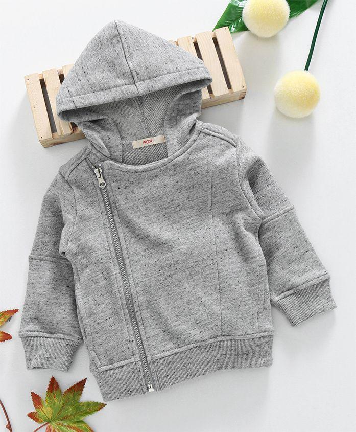 Fox Baby Hooded Sweat Jacket - Grey