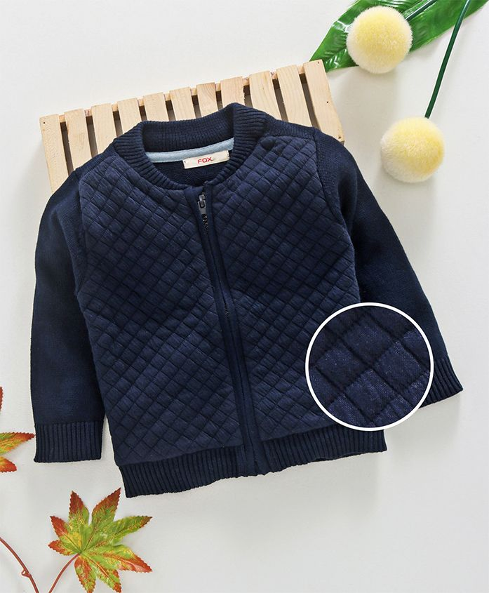 Fox Baby Full Sleeves Quilted Sweater - Navy Blue