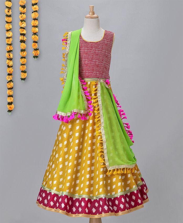 Kids Chakra Printed Ghagra Choli - Yellow