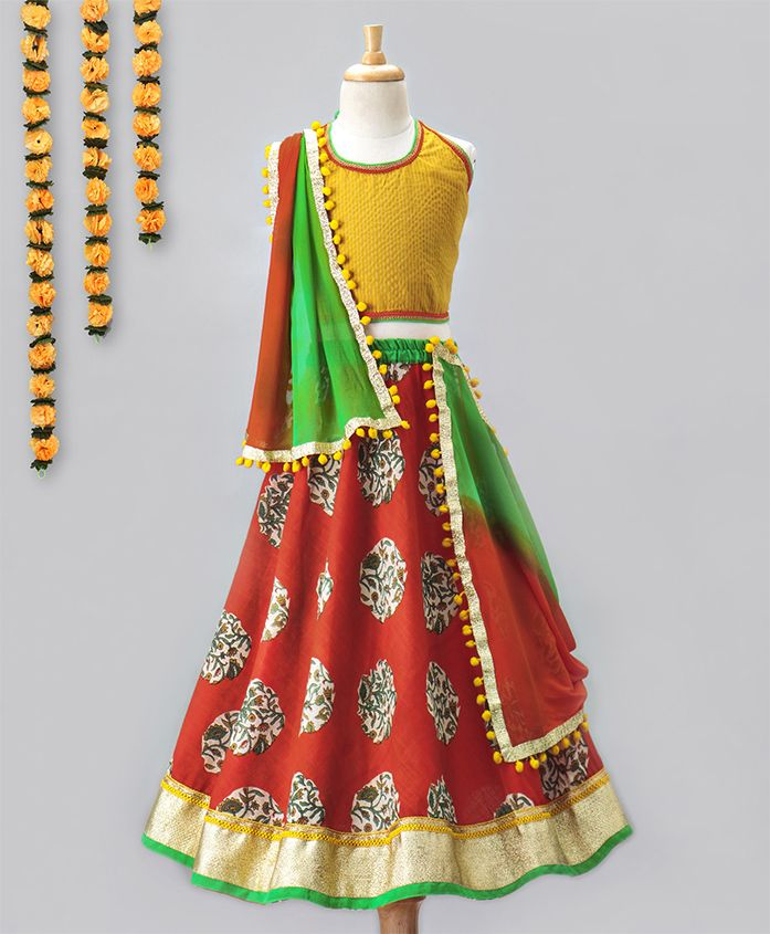 Kids Chakra Floral Ghagra & Solid Choli Set - Yellow & Red