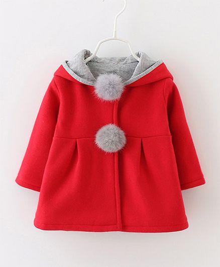 Pre Order - Awabox Hooded Full Sleeves Coat - Red